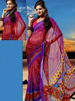 Kalazone Red Blue Yellow Chiffon Saree:WSV31906