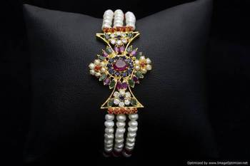 EXOTIC REAL PEARLS TRIPLE STRING BRACELET (NAVRATNA) - PCB1005