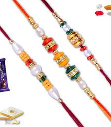 Buy Premium diamond bead   three  rakhi set with gm kaju katli rakhi-with-sweet online