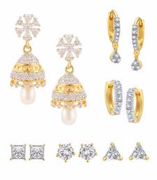 Buy White Combo of Gold Plated Earrings combo-earring online
