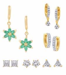 Buy Green Combo of Gold Plated Earrings combo-earring online