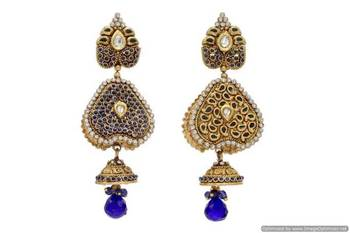 ANTIQUE GOLDEN STONE STUDDED REVERSABLE 2 WAY USE EARRINGS/HANGINGS (BLUE)  - PCAE2070