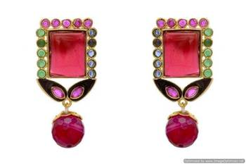ANTIQUE GOLDEN STONE STUDDED EARRINGS/HANGINGS (RED MULTI)  - PCAE2141