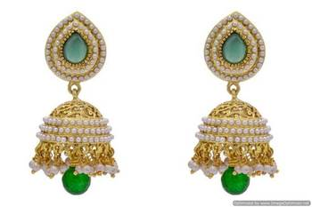 ANTIQUE GOLDEN STONE STUDDED PEARL JHUMKA EARRINGS/HANGINGS (GREEN)  - PCAE2163