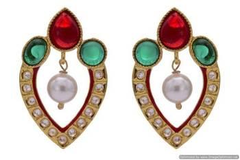ANTIQUE GOLDEN STONE STUDDED POLKI MEENA WORK PEARL EARRINGS/HANGINGS (RED GREEN)  - PCAE2233