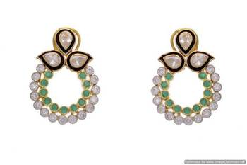 AD STONE STUDDED ELEGANT AD POLKI CHAAND BALI EARRINGS/HANGINGS (GREEN)  - PCFE3007