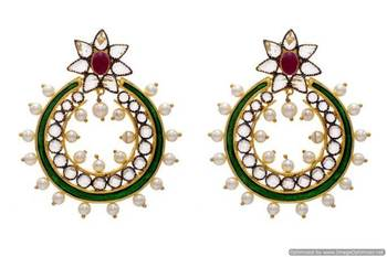 AD STONE STUDDED FLOWER SHAPED MEENA POLKI CHAAND BALI EARRINGS/HANGINGS (RED GREEN)  - PCFE3008