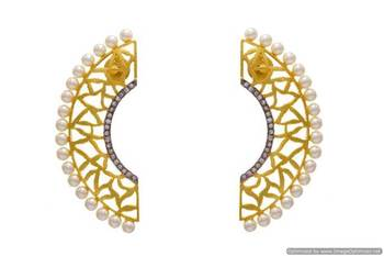 AD STONE STUDDED GOLDEN JAALI EARRINGS/HANGINGS (WHITE RHODIUM)  - PCFE3022