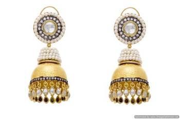 AD STONE STUDDED ROYAL GOLDEN POLKI JHUMKA EARRINGS/HANGINGS (POLKI)  - PCFE3023