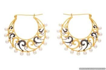 AD STONE STUDDED GOLD & BLACK RHODIUM PEARLS EARRINGS/HANGINGS (GOLD)  - PCFE3028