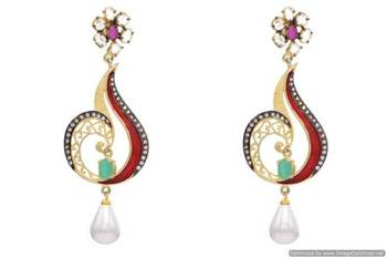 AD STONE STUDDED BLACK RHODIUM MEENA EARRINGS/HANGINGS (RED GREEN)  - PCFE3029