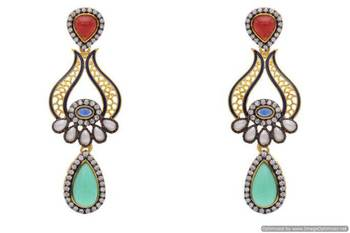 AD STONE STUDDED ELEGANT DROP EARRINGS/HANGINGS (RED GREEN)  - PCFE3069
