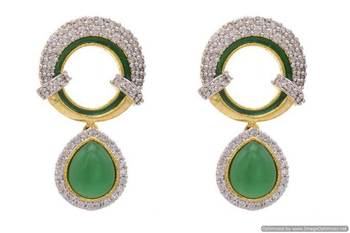 AD STONE STUDDED ROUND MEENA WORK PAN SHAPE DROP EARRINGS/HANGINGS (GREEN)  - PCFE3098