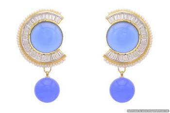 AD STONE STUDDED ROUND SHAPED ROUND DROP EARRINGS/HANGINGS (BLUE)  - PCFE3133