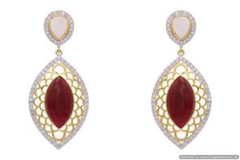 AD STONE STUDDED JAALI WORK STYLE EARRINGS/HANGINGS (RED)  - PCFE3141