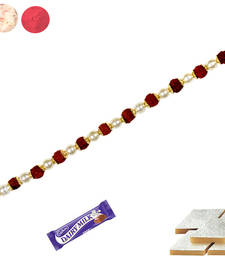 Buy Natural rudraksh bracelet rakhi with white pearl with kaju katali bracelet-rakhi online