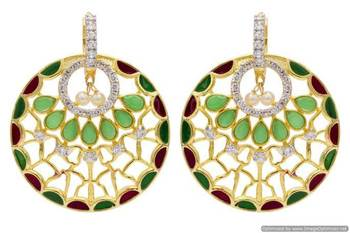 AD STONE STUDDED ROYAL MEENA WORK CHAAND BAALI STYLE EARRINGS/HANGINGS (RED GREEN)  - PCFE3245