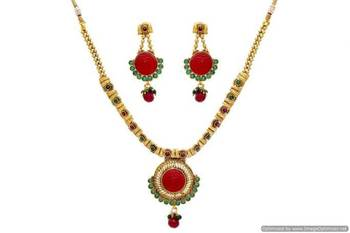 ANTIQUE GOLDEN STONE STUDDED JAALI WORK NECKLACE SET (RED GREEN)  - PCAN4014