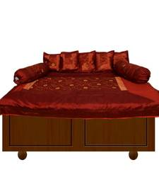 Buy Rust Embroidery Diwan Set other-home-furnishing online