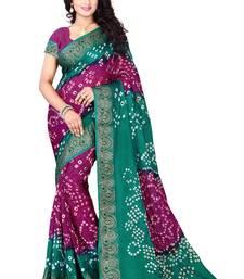 Buy Rama Rani printed georgette saree With Blouse bandhani-sarees-bandhej online