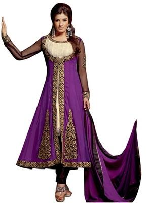 Triveni Raveena's Golden Embroidered Anarkali Salwar Kameez TSFLSK5003