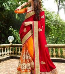 Buy Sareee india Present red embroidered satin saree With Blouse satin-saree online