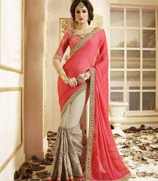 Buy Beige embroidered chiffon saree With Blouse bridal-saree online