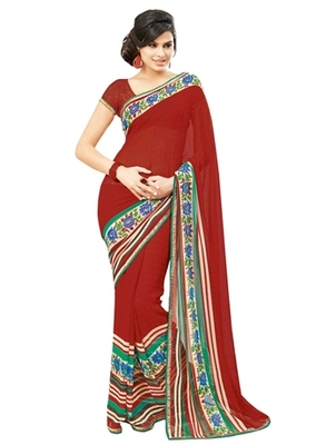 Triveni Lovely Maroon Colored Casual Printed Faux Georgette Indian Designer Sari