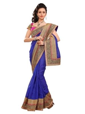Triveni Stylish Blue Colored Border Work Indian Designer Beautiful Saree