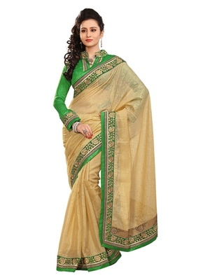 Triveni Stylish Golden Colored Border Work Indian Designer Beautiful Saree