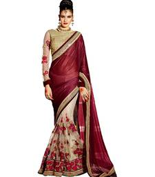 Buy maroon embroidered faux lycra saree With Blouse net-saree online