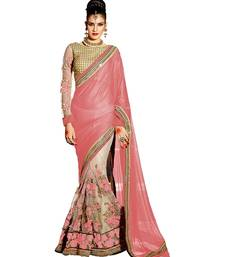 Buy peach embroidered faux lycra saree With Blouse net-saree online