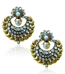 Buy Antique Beautiful White Pearl Polki Earring by ADIVA VI114 danglers-drop online