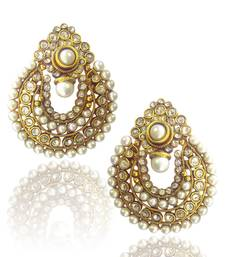 Buy Beautiful White Pearl Polki Earrings by ADIVA PCEAZ001WH danglers-drop online