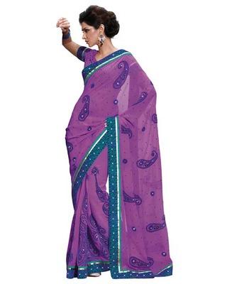 Dealtz Fashion Multi embroidery Purple Faux georgette Saree