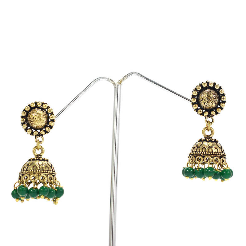 Buy Beautiful New Look Oxidized Gold Plated Green Beads Jhumka ...
