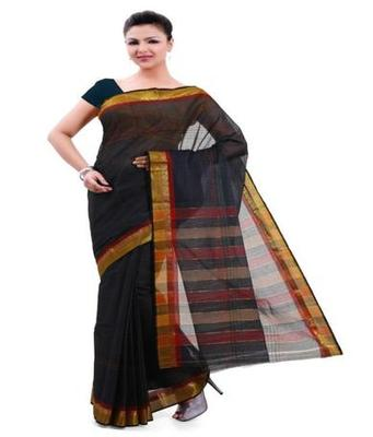 Dealtz Fashion Black Cotton Mercerised Saree