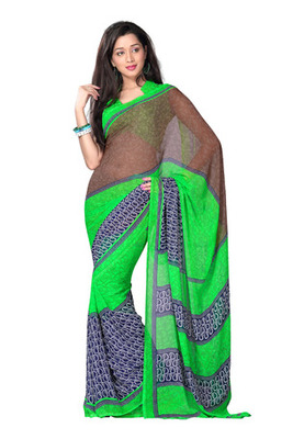 Fabdeal Casual Wear Brown & Green Colored Georgette Saree
