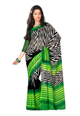 Fabdeal Casual Wear Black & Green Colored Georgette Saree