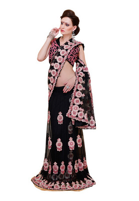 Fabdeal Party Wear Black Colored Net Saree