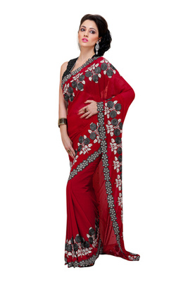 Fabdeal Party Wear Maroon & Black Colored Georgette Saree with Net Blouse