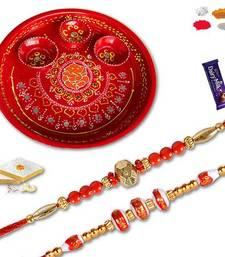 Buy Set of two premium bead rakhi and decorative ganesh cone work thali with twogms kaju katli send-rakhi-to-indium online