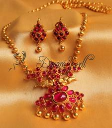 Buy AWESOME ROYAL PINK PEACOCK DESIGNER NECKLACE SET-DJ00034 necklace-set online