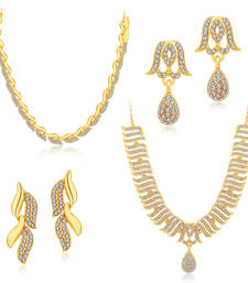 Buy Ethnic Gold Plated Set Of 2 AD Necklace Set Combo For Women jewellery-combo online