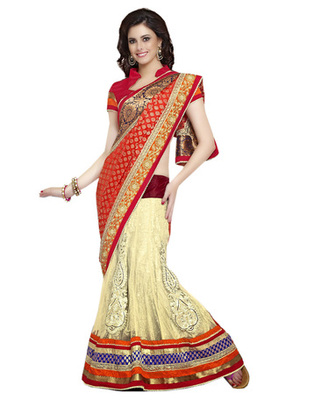 Designer Multi Color Brasso, Net Party Wear Lehenga Saree
