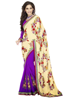 Magenta & Cream Crepe, Faux Georgette Resham Work Saree