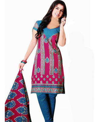 Designer Pink, Blue Color Cotton Fabric Printed Dress Material