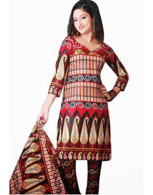 Designer Red Color Cotton Fabric Printed Dress Material