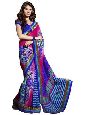 Designer Multicolor Color Faux Georgette Fabric Border Work Saree