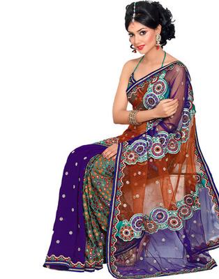 Designer Violet Color Net, Faux Georgette, Brasso Fabric Embroidered Saree